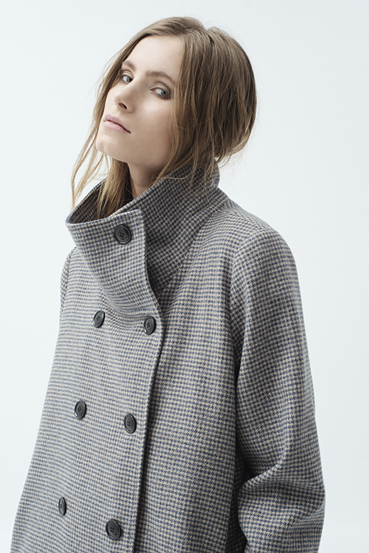 DOUBLE - BREASTED HOUNDSTOOTH WOOL COAT - BRUNO NOWI A ...