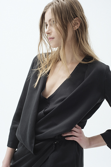 CUPRO BLOUSE OVERLAPPED IN FRONT