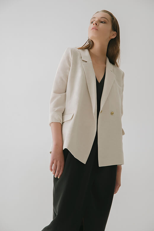 DOUBLE - BREASTED LINEN JACKET